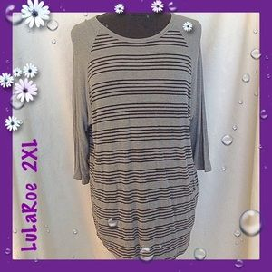 LuLaRoe Gray Striped Randy Baseball Tee Size 2X